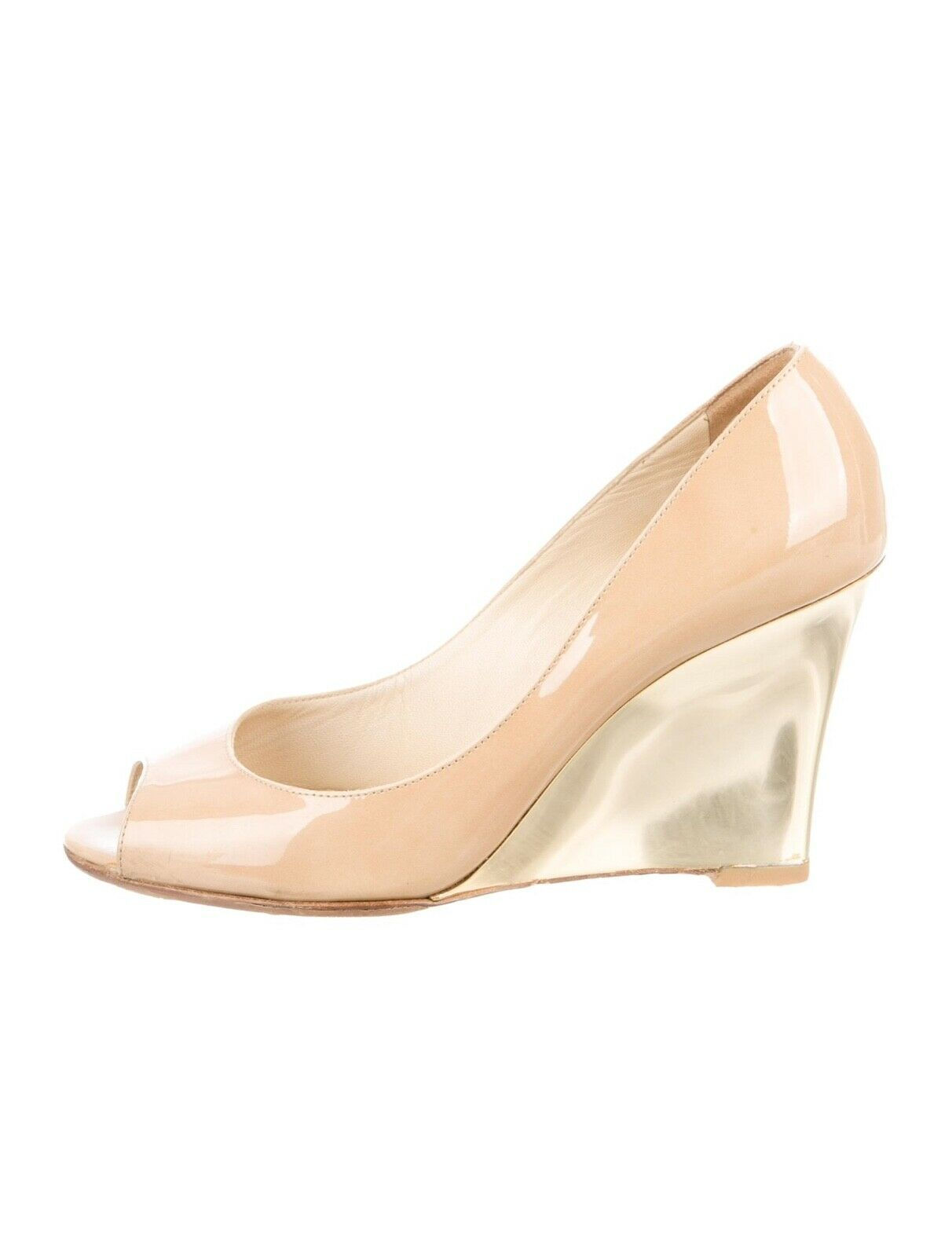 Jimmy Choo Baxen Patent Leather Wedge, Peep Toe, gold, Heel - Nude Size 37