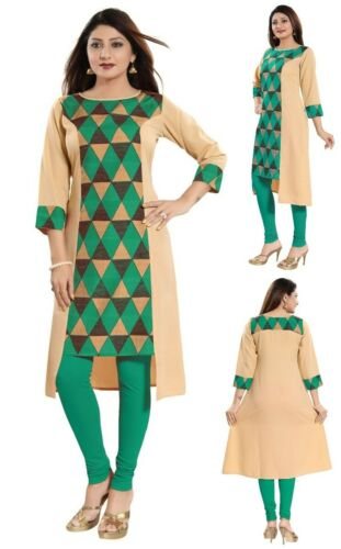 Unifiedclothes Printed Green Asymmetric Top Kurti Tunic Kurta Shirt Dress SC2305