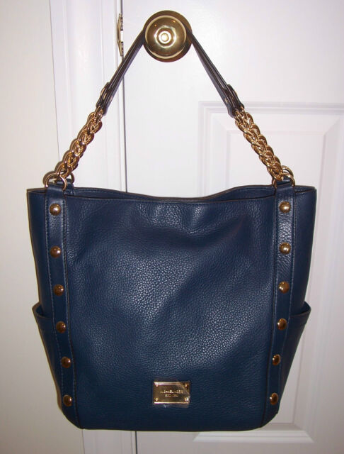 6e1677aacacb NWT Michael Kors DELANCY DELANCEY Large Shoulder Tote Bag NAVY BLUE Leather