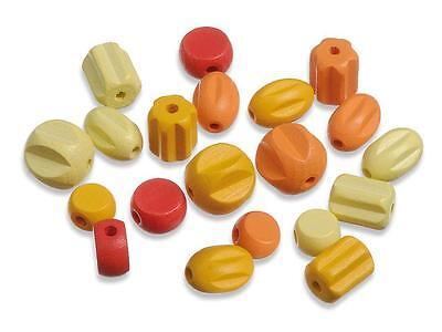 22 Holzperlen Formen-Mix II. speichelfest gelb-rot