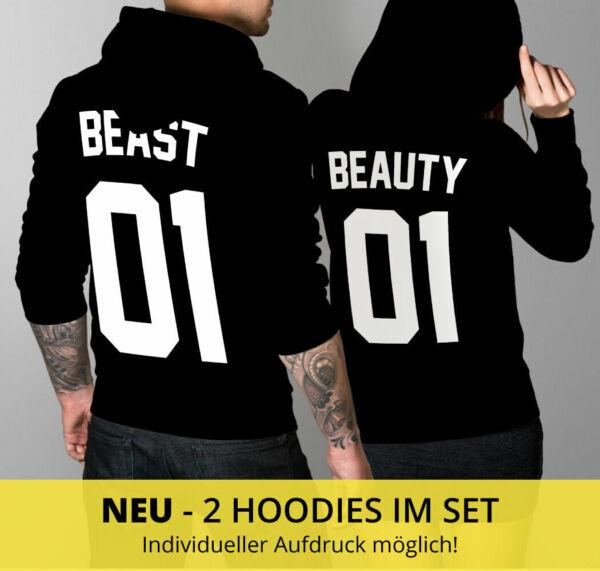 BEAUTY & BEAST 01 SET 2 Hoodies Pullover Pulli Pärchen Couple Love Schwarz CVLR®