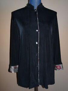 Chico-039-s-Travelers-Black-Brocade-Contrast-Trim-Slinky-Mandarin-Jacket-Size-1-M
