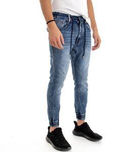 Jeans-Uomo-Panta-Tuta-Denim-Elastico-Vita-Caviglie-Pantalone-Cinque-Tasche-Ca