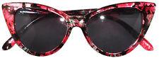 CAT EYE FLOWER SUNGLASSES SMOKE LENS GLASSES SHADES UV400 BLACK-RED FLOWER FRAME