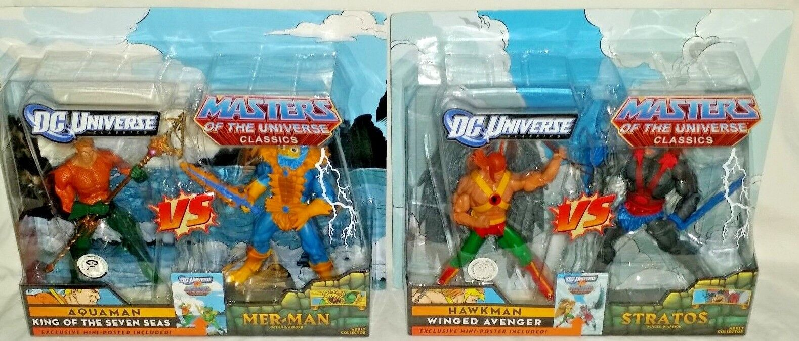 MATTEL DC Masters Universe AQUAMAN MERMAN & HAWKMAN STRATOS Action Figure set