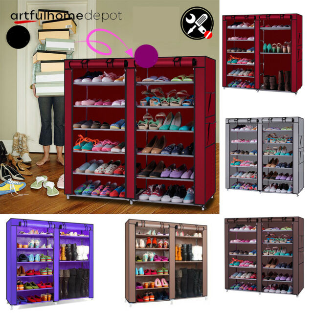 the best attitude 75bd8 461a8 Double Rows Home Shoe Rack Shelf Storage Closet Organizer Cabinet Portable  Cover