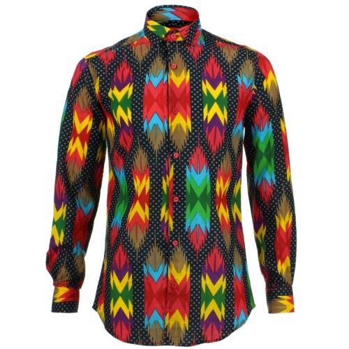 Rétro Rouge Loud Shirt Psychédélique Coupe Sur Fantaisie Originals Mesure Mens Aztèque gFx8w8