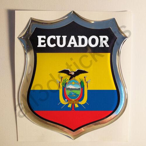 Sticker Ecuador Emblem 3D Resin Domed Gel Ecuador Flag Vinyl Decal Car Laptop