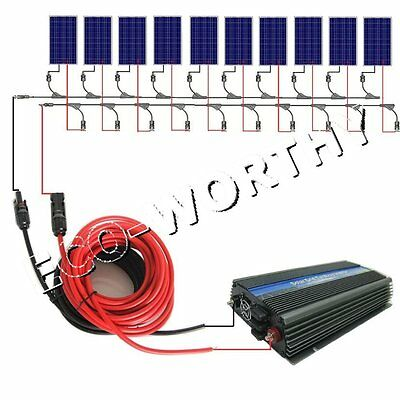 1KW grid tie COMPLETE KIT: 10x100W solar panel & /inverter for home power system
