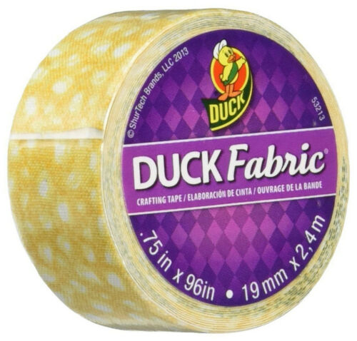 Duck Brand Fabric Crafting Tape Mini Roll 0.75 in x 96 in Yellow Speckled Dots
