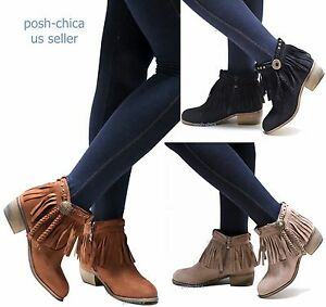 New Women Aco Fringe Western Moccasin Booties Low Heel Ankle Boots