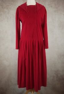 Vintage-Laura-Ashley-Red-Fine-Corduroy-Sailor-Dress-Size-UK-12-14-Drop-Waist