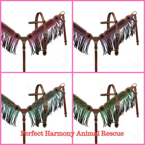 Beaded Headstall /& Ombre Fringe Breast Collar Set with Split Reins 4 Colors NEW