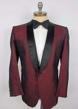 After Six Vintage 60s 42R Slubby Silk Smoking Dinner Jacket Tux  Maroon PROM
