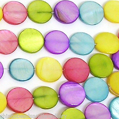 "16"" Dyed Shell 12mm Flat Coin Beads Mixed"