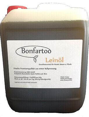 Leinöl 5l, Bonfartoo, Fellwechsel, Kaltgepresst, 100% Leinöl (3,19 €/1l)