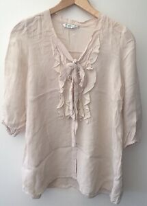 Ladies-New-Look-Cream-Shirt-Size-6-lt-NZ349