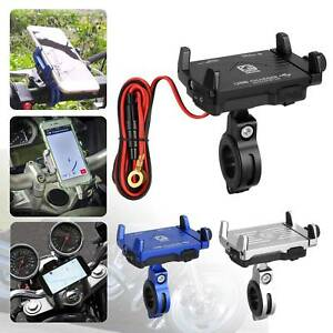 2-IN-1-Motorcycle-Handlebar-Mount-Phone-Metal-Holder-USB-Charger-With-Switch