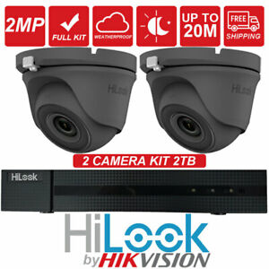 HIKVISION-x2-CAMERA-GREY-2MP-HD-TVI-DOME-Office-CCTV-Camera-4CH-2TB-System-Kit