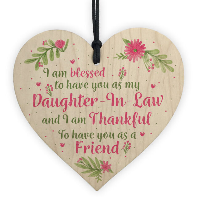 Daughter In Law Plaques Wooden Heart Birthday Card Wedding Xmas GIFTS For Her