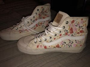 1ee4a0644dcf Womens VANS Shoes Black Ball High Top Leila Hurst 70 s Floral Size 7 ...