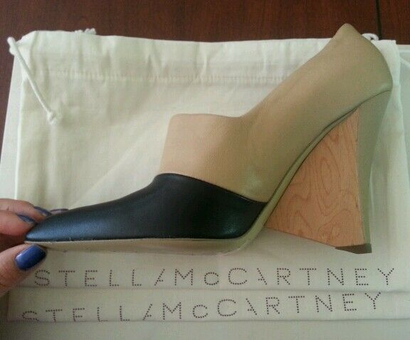 Stella McCartney Bicolor High-Vamp Wedge Pump, Black Sand sz 35.5 5.5 6  995