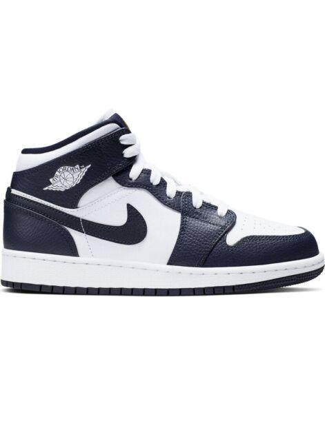 2019 Nike Jordan 1 Mid White Metallic Gold Obsidian Gs 554725 174 Youth Ds 5 For Sale Online Ebay