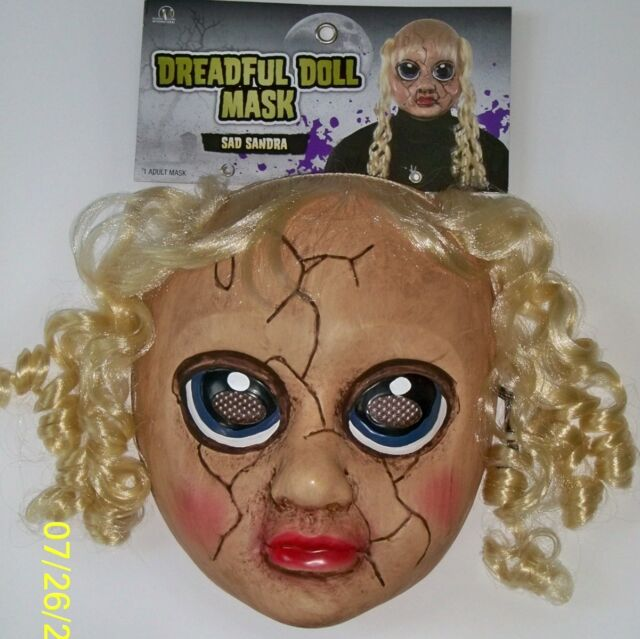 ADULT CREEPY CARRIE FACE MASK HORROR SCARY BABY DOLL Curly Blonde Hair NEW
