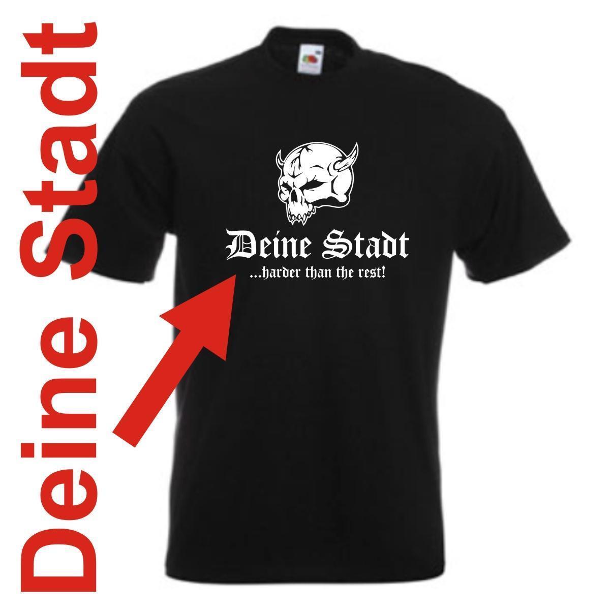 T-Shirt - Wunschtext Stadt oder Namen - harder than the rest (SFU14-01a)