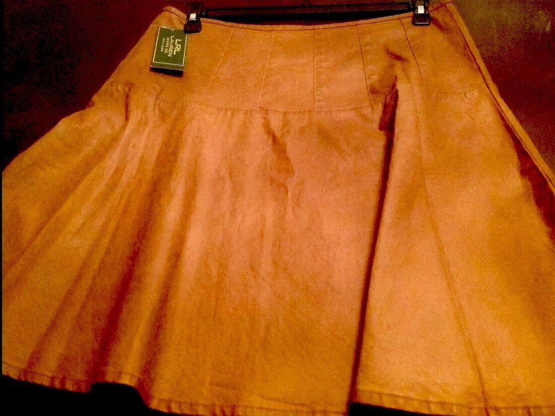 NWT LAUREN RALPH LAUREN Brown Twill Fit-And-Flare Skirt Sz 12 MSRP   125.00