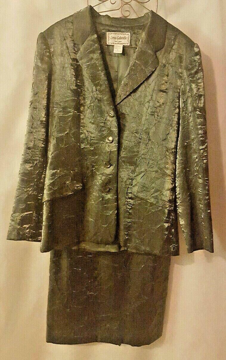 LENA GABRIELLE Designer Womens 2 Piece Skirt SuitSatin GreenSize 6GLOBAL Ship
