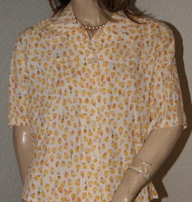 Viscose Camicia Bianco Fiori Musterchen In Giallo E Salmone Nw 40-mostra Il Titolo Originale Elegante Nello Stile