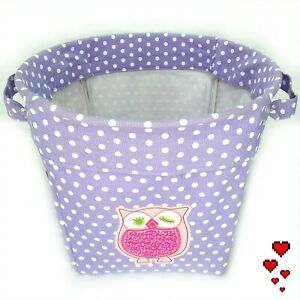 Pottery Barn KIDS Polka Dot MEDIUM Canvas Storage Bucket Bin Basket Pink White
