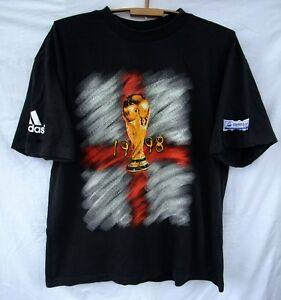 top design classic fit new products Details about Adidas England 1998 FIFA World Cup Coupe Du Monde vintage  t-shirt black XL