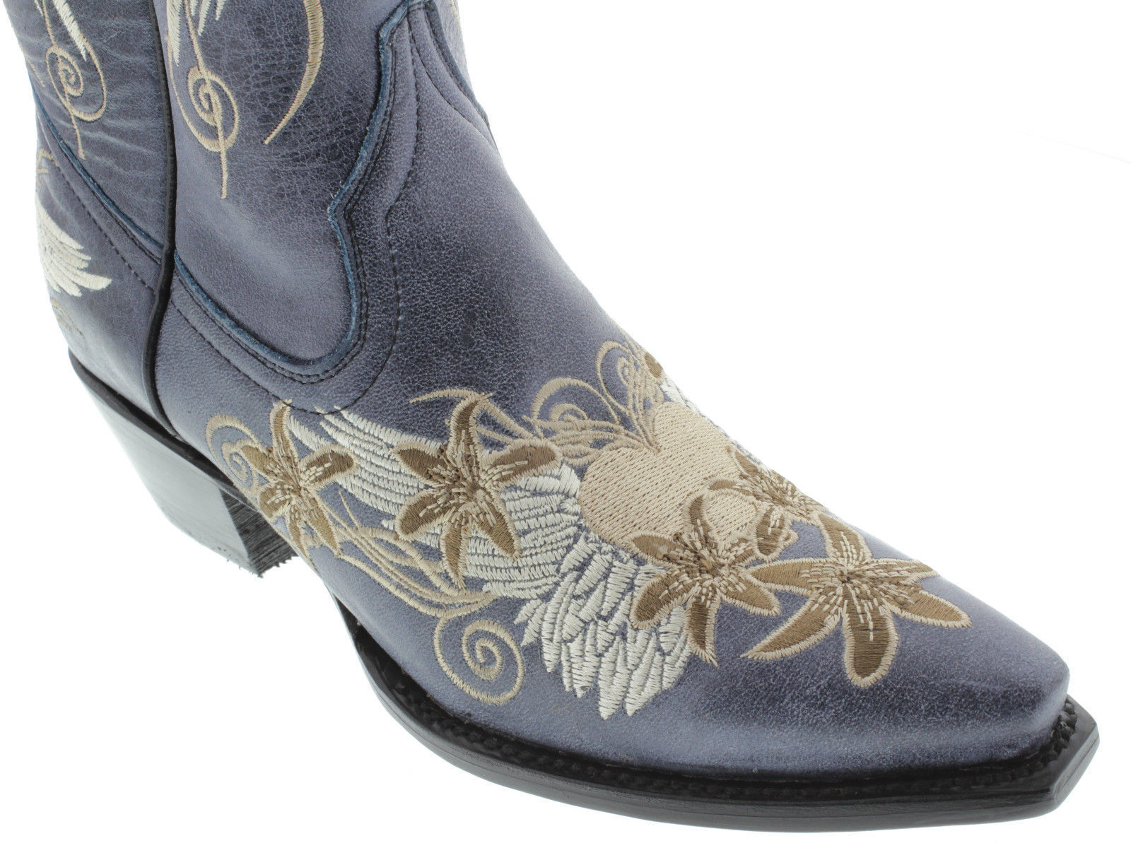 Women's Denim bluee Heart Wings Embroidery Leather Cowgirl Leather Leather Leather Boots Pointed 926128