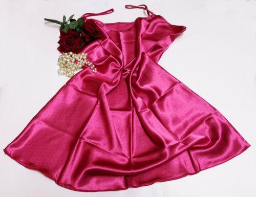 Knee Length Nighty Luxury Glossy Satin Night Dress Pink Polka Dot Size 22//24 N52