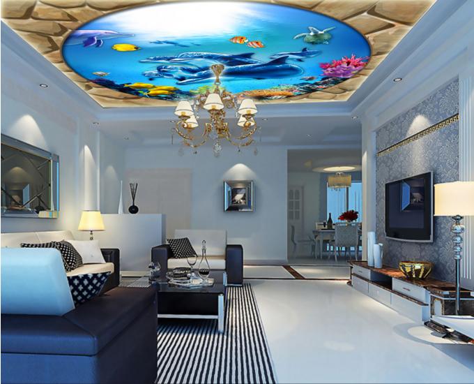 3D Stone Dolphins 73 Ceiling WallPaper Murals Wall Print Decal Deco AJ WALLPAPER