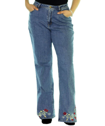 Denim Floral Embroidered Petite /& Miss Size Jeans