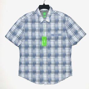 12f6ca8f7 New $145 HUGO BOSS Mens Size XL Slim Casual Button-Front Shirt Short ...