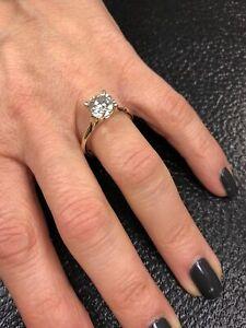 2.00 Ct Round Moissanite Engagement Bridal Ring Real 18K Yellow Gold ring Size 7