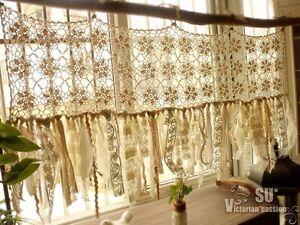 Image Is Loading Vintage Romantic Kitchen Valance Boho Crochet Curtain Shabby