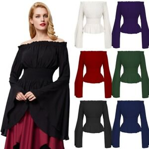 Women-Ladies-Gothic-Renaissance-Medieval-Victorian-Bell-Sleeve-Party-Tops-Blouse