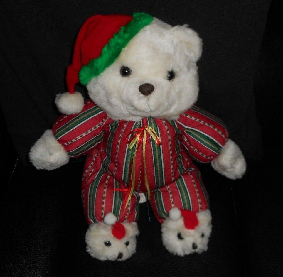 14  VINTAGE CUDDLE WIT CHRISTMAS TEDDY BEAR SLIPPERS STUFFED ANIMAL PLUSH TOY