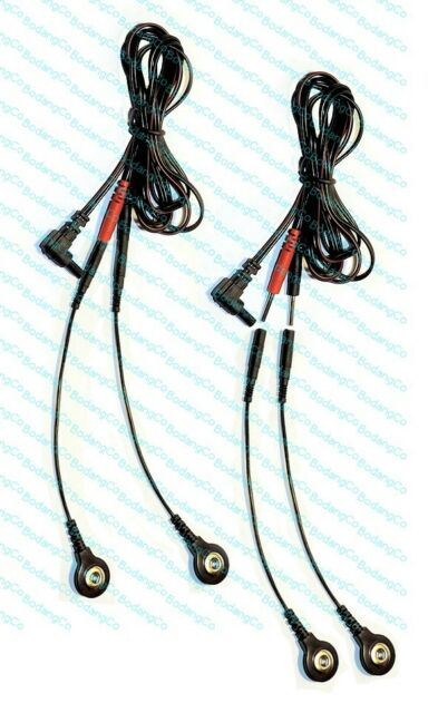 TWO (2) Electrode Cables for AURAWAVE Massagers - USE SNAP OR PIN PADS!