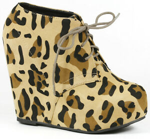 c13c5199a24 Black Tan Leopard Round Toe High Platform Wedge Lace Up Ankle Bootie ...