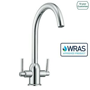 Relia-Twin-Lever-Chrome-Modern-Swivel-Kitchen-Sink-Mono-Mixer-Tap