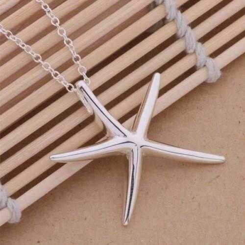 EN SOLDE-GRANDE capricieuse étoile de mer pendentif argent sterling Collier