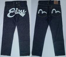 Men's EVISU Logo Button Fly Painted Selvedge Jeans Japan Sz 30 (33x34) Rare!