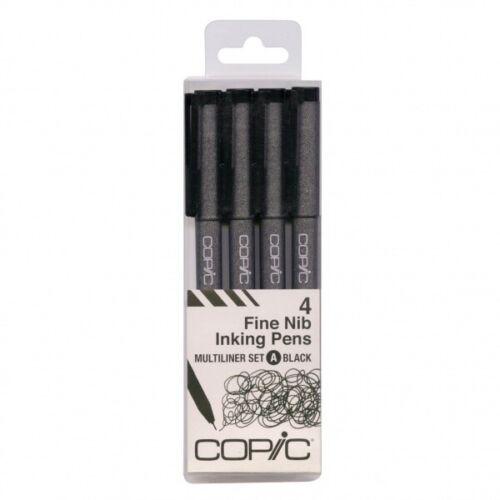 Black 4 size set Too Copic Fine Nib Inking Pens Multiliner set A