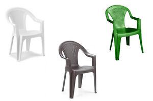 Sedie In Polipropilene Da Giardino.Sedia Poltrona Polipropilene Impilabile Effetto Rattan Ischia Bianca